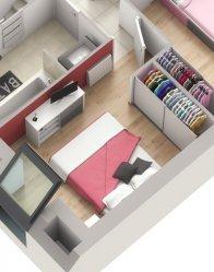 Maison avec combles aménagés - chambre mansardée