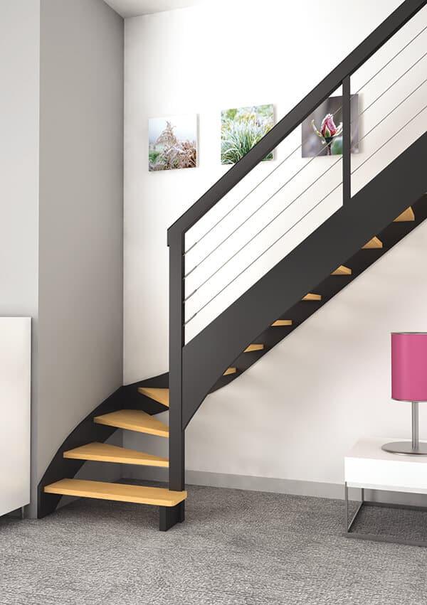 Escalier bois quart tournant - Groupe Riaux