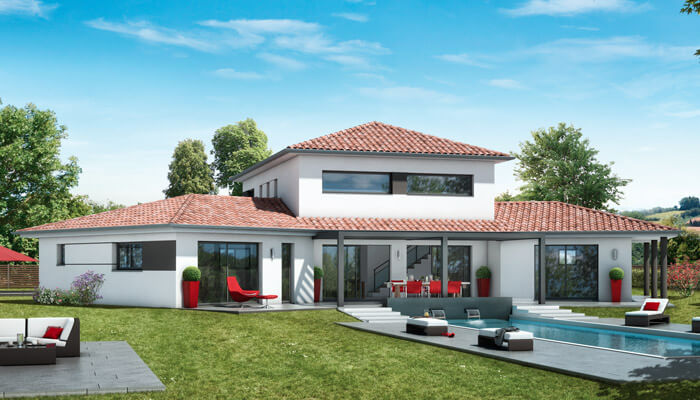 Plan maison contemporaine ambre plan maison 3d for Plan villa moderne 200m2