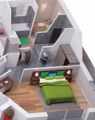 Plan maison 3D Ambre - suite avec sauna