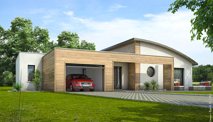plan maison contemporaine 3d