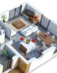 Plan maison contemporaine am thyste maison plain pied - Plan de maison avec cuisine ouverte ...