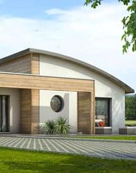 plan maison moderne toit arrondi