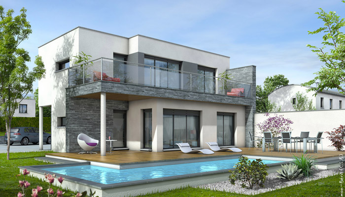 Maison toit plat azur plan maison contemporaine - Plan de maison contemporaine ...