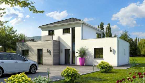 Maison contemporaine emeraude plan maison maisons clair logis for Style toiture maison