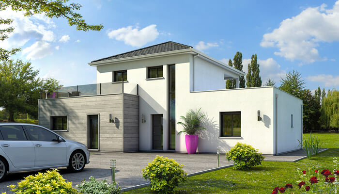 Maison contemporaine emeraude plan maison maisons clair logis for Plan architecte villa moderne