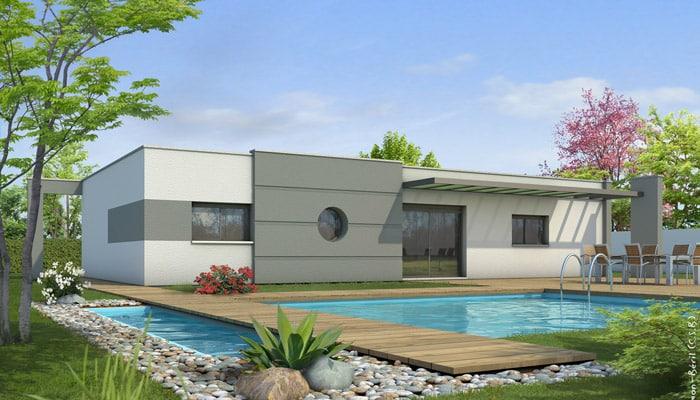 Plan maison toit plat lys maisons clair logis for Plan villa basse moderne