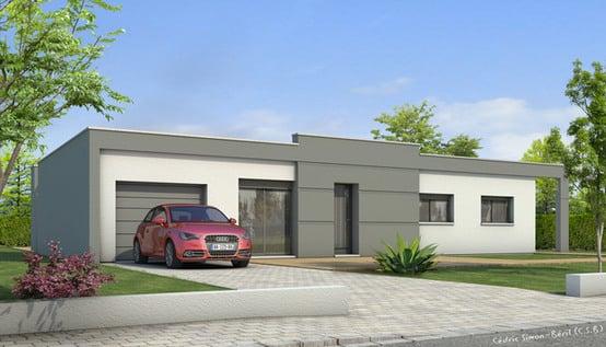 Plan maison toit plat lys maisons clair logis for Plan maison moderne toit plat plain pied
