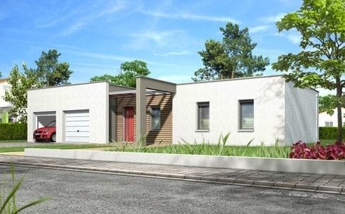 Plan maison à toit plat Noyer