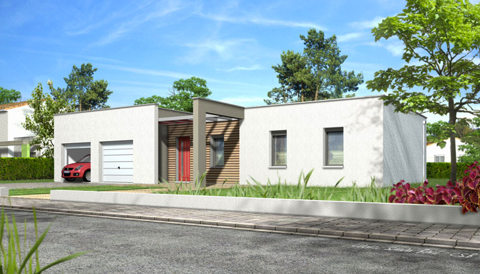 Maison toit plat noyer plan maison gratuit for Plans maisons contemporaines