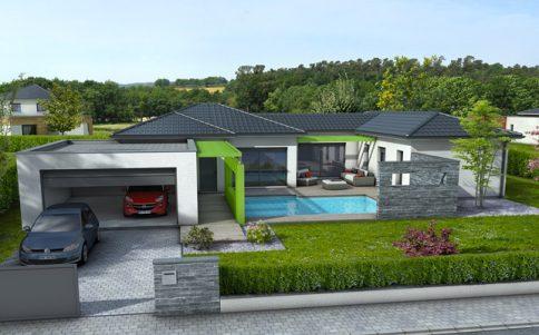 Maison en u plan maison maisons clair logis for Modele maison en u