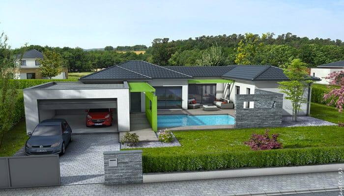 Plan maison contemporaine olivine maison plain pied for Modele maison gratuit