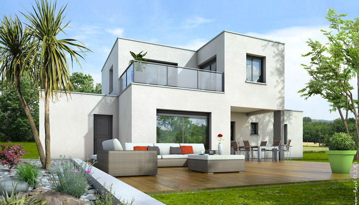 Plan maison toit plat opaline maison contemporaine for Maison design cube