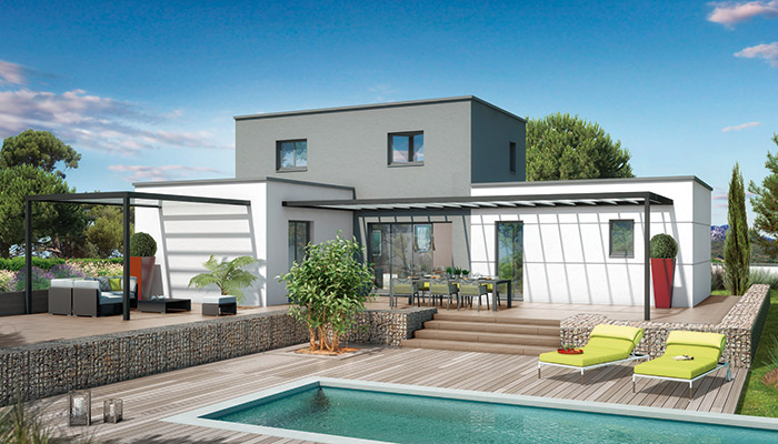 Plan maison toit plat orchid e maison contemporaine for Maison moderne carre