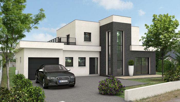 Maison contemporaine quartz maison d 39 architecte plan for Plan villa moderne 200m2