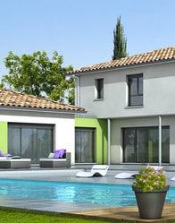 Maison contemporaine avec grandes baies vitrée