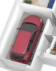 Maison en L avec garage intégré
