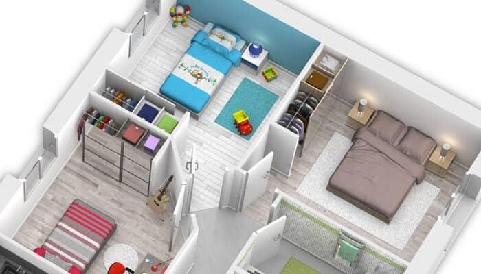plan maison moderne bleuet maison familiale maisons clair logis. Black Bedroom Furniture Sets. Home Design Ideas