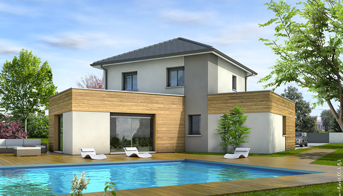 Plan maison moderne c vennes plan maison 3d for Model maison contemporaine