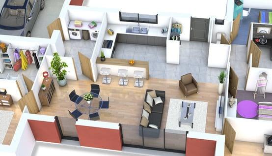 Plan de maison moderne mah plan maison gratuit for Plan interieur maison moderne