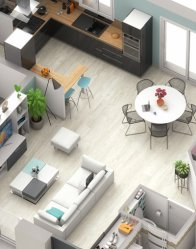 plan maison 3D Ariane - espace de vie ouvert