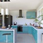 Maison neuve : cuisine américaine en L