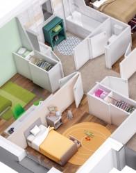 Plan 3D maison en L - espace nuit