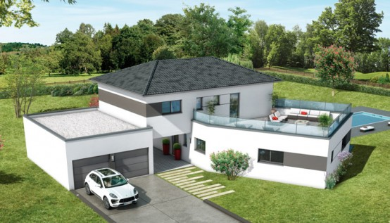 Plan maison contemporaine ambre plan maison 3d for Modele maison toit terrasse