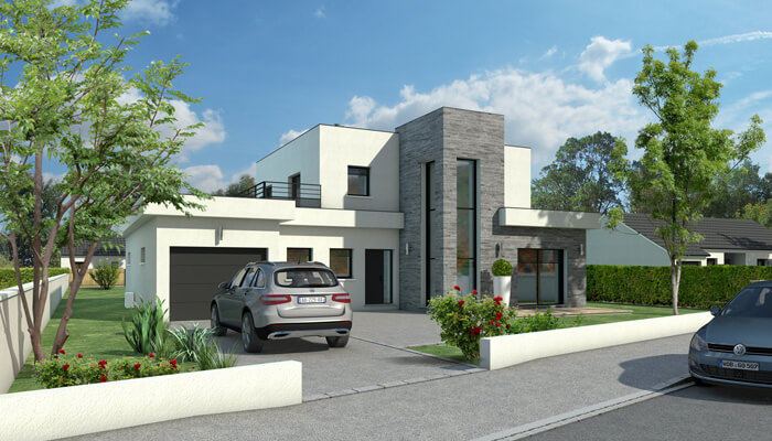 Maison toit plat quartz maison d 39 architecte plan for Plan d architecte maison