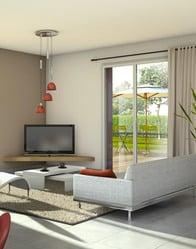 vue 3D salon - maison individuelle Comores