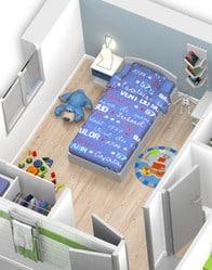 Plan maison 3D - vue chambre
