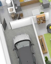 plan maison 3D - garage et cellier