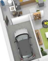 Plan maison 3D - garage intégré