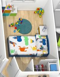 Plan maison 3D - chambre enfant