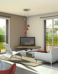 Vue 3D salon - Maison en V