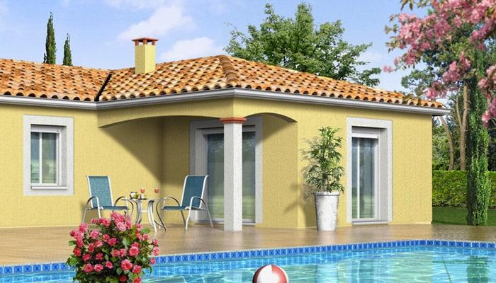Maison en L de plain-pied - plan maison gratuit