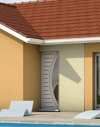 Maison de plain-pied avec porte d'entrée moderne