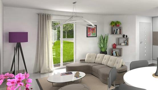 Maison individuelle Tournette - vue 3D salon