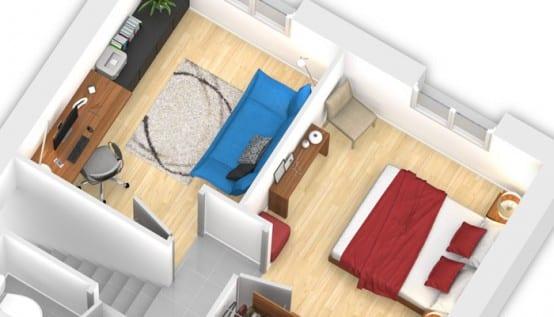 Plan 3D maison traditionnelle Velin - partie nuit