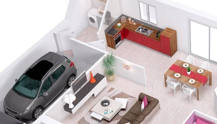 Plan Maison 3D Violette - Maison Traditionnelle