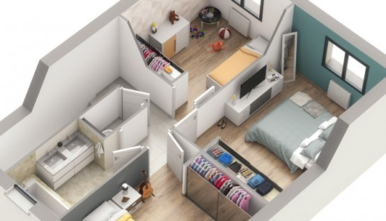 plan 3D maison familiale Lotus