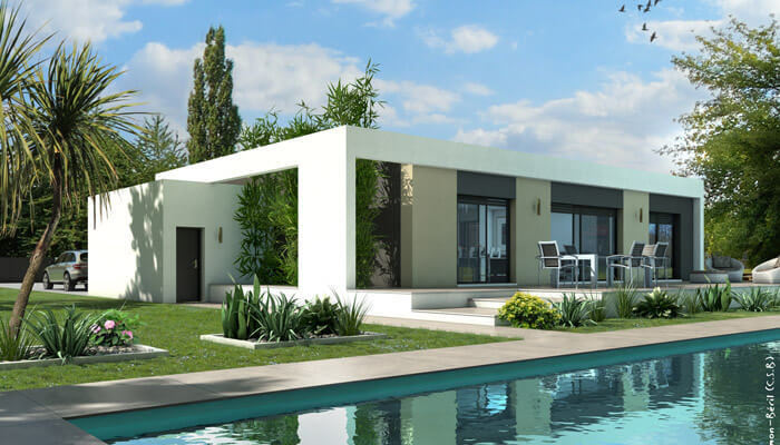Plan maison toit plat jade maison contemporaine for Plan maison contemporaine toit plat