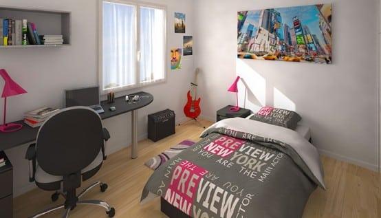 vue 3D chambre - maison neuve Comores